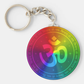 Om Rainbow Design Key Ring