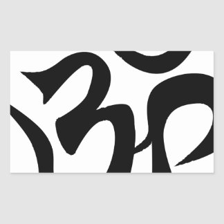 Om Silhouette Rectangular Sticker