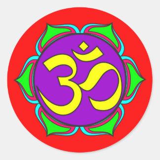 om symbol sacred Buddhism religion zen yoga flower Classic Round Sticker