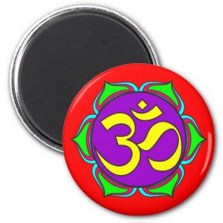 om symbol sacred Buddhism religion zen yoga flower Magnet
