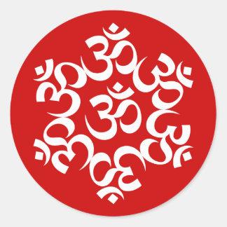 Om Symol Design Classic Round Sticker