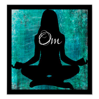 Om Turquoise and Black Women Meditating Yoga Poste Poster