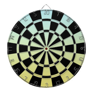 Ombre Blue Yellow And Black Dartboard With Darts
