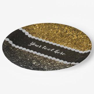 Ombre glitter sparkling paper plate