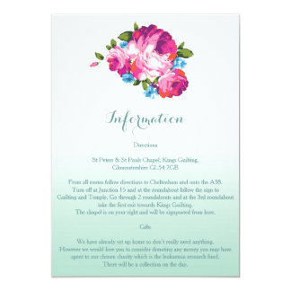 Ombre Mint Floral Wedding Information Cards 13cm X 18cm Invitation Card