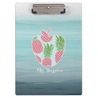 Ombre Pineapple Print Apple Personalised Teacher Clipboard