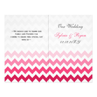 Ombre Pink Chevron folded Wedding program 21.5 Cm X 28 Cm Flyer