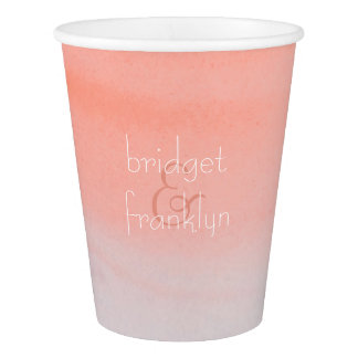 Ombre Pink Watercolor Wedding Paper Cup