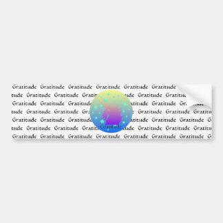 Ombre unicorn with word gratitude bumper sticker