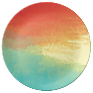 Ombre Watercolor Texture - Teal, Yellow, Coral Plate