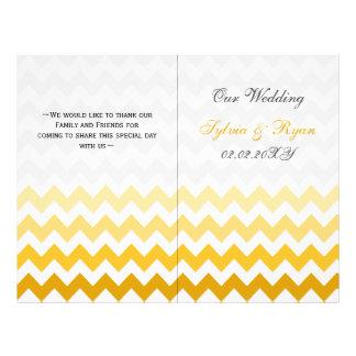 Ombre yellow Chevron folded Wedding program 21.5 Cm X 28 Cm Flyer