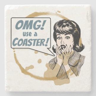 OMG! Use a Coaster! Funny Retro Coffee Ring Stone Coaster