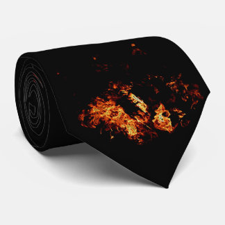 Ominous Flames on Black - neck tie
