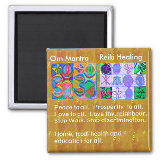 OmMantra MANTRA -  12 Reiki Healing Signs for all Square Magnet
