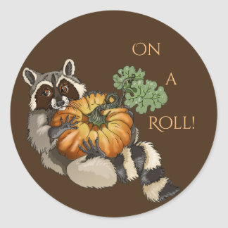On a Roll Racoon Classic Round Sticker