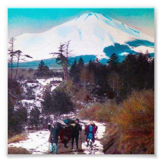 On a Winter Road Beneath Mount Fuji Vintage Japan Photographic Print
