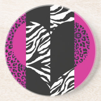 On the Wild Side Animal Print Heart in Hot Pink Coaster
