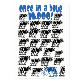 Once in a Blue Moo Moon Postcard