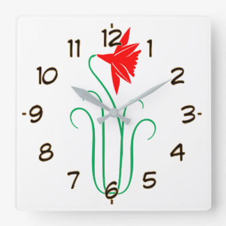 One ELEGANT Flower Show Square Wall Clock