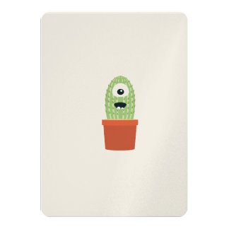 One eyed cactus 13 cm x 18 cm invitation card