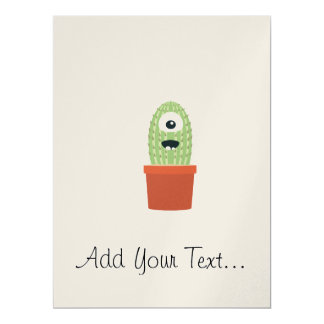 One eyed cactus 17 cm x 22 cm invitation card