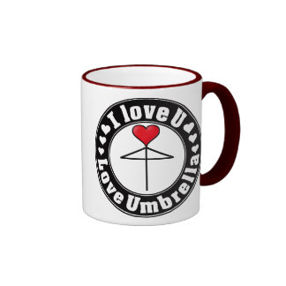 One Heart Love Umbrella3 Black Ringer Mug