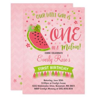 One In A Melon Birthday Invitation Melon Party