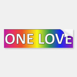 ONE LOVE in rainbow colors Bumper Sticker