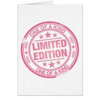 One of a kind -pink rubber stamp effect- card