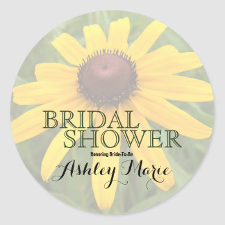 One Rudbeckia Flower Photograph | Bridal Shower Classic Round Sticker