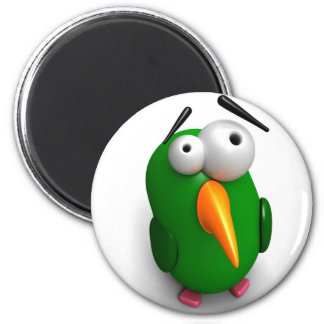 One Wacky Parrot 6 Cm Round Magnet