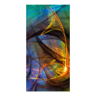 One Warm Feeling  - colorful digital abstract art Custom Photo Card