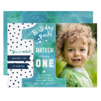One Watercolor   Birthday Party   Invitation