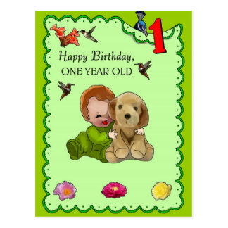 One Year Old Birthday Postcard