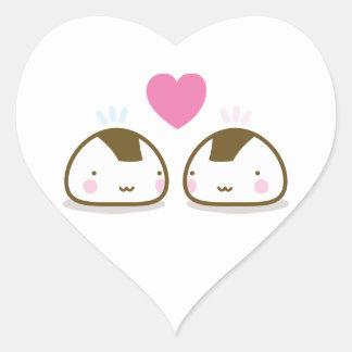 onigiris in love heart sticker