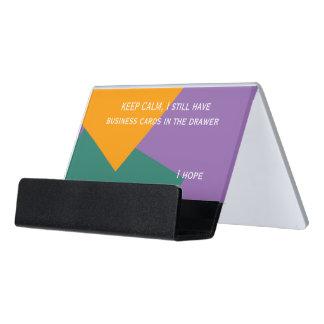 Only Color Background - ocean green orange Desk Business Card Holder