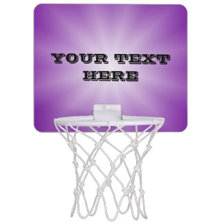 Only Color Gradients Star - purple + your text Mini Basketball Hoop