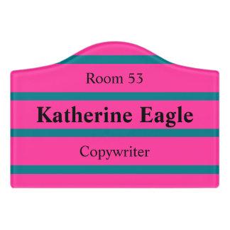 ONLY COLOR STRIPES - pink + your backgr. & ideas Door Sign