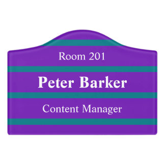 ONLY COLOR STRIPES - purple + your backgr. & ideas Door Sign