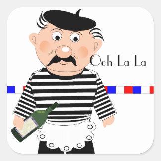 Ooh La La Funny French Wine Waiter Square Sticker