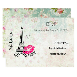 Ooh La La Paris Eiffel Tower Vintage RSVP 9 Cm X 13 Cm Invitation Card