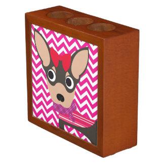 Oooh La La Chihuahua Hot Pink and White Chevron Desk Organiser