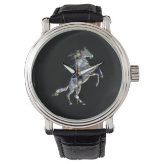 OPAL HORSE Vintage Leather Strap Watch, Black Leat Watches