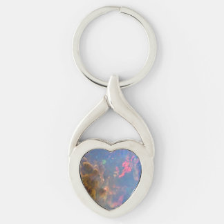 Opal Twisted Heart Metal Keychain Silver-Colored Twisted Heart Key Ring
