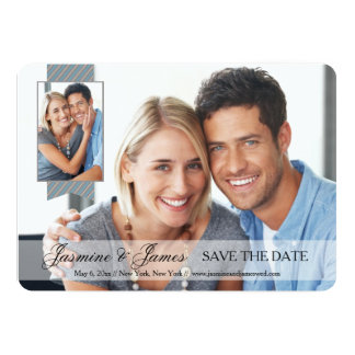 Opaque Banner Double Photo Save the Date Card