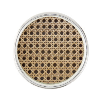 Open Weave Rattan Cane Lapel Pin