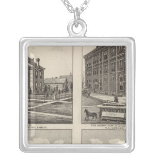 Opera House and Residences in Kansas Silver Plated Necklace