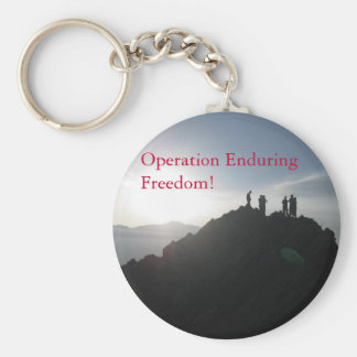 Operation Enduring Freedom! Basic Round Button Key Ring