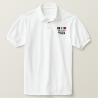 Operation Enduring Freedom ribbon Embroidered Polo Shirts