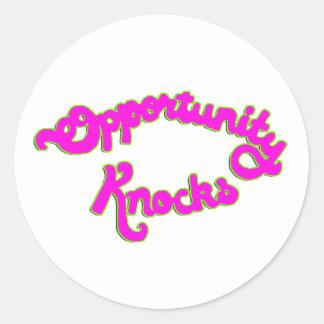 Opportunity Knocks Round Sticker